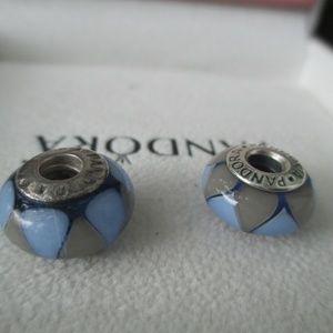 Pandora captivating blue set of 2 lot murano